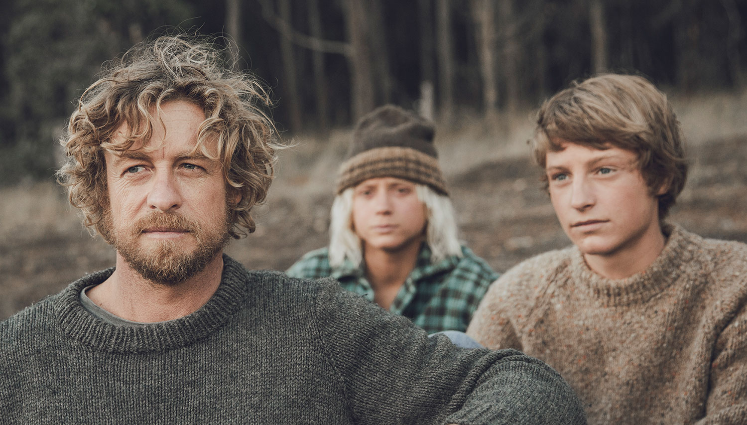 Sando (Simon Baker), Loonie (Ben Spence) and Pikelet (Samson Coulter) in a publicity photo for Breath, the movie based on Tim's Winton's book, filmed in Denmark, Western Australia
