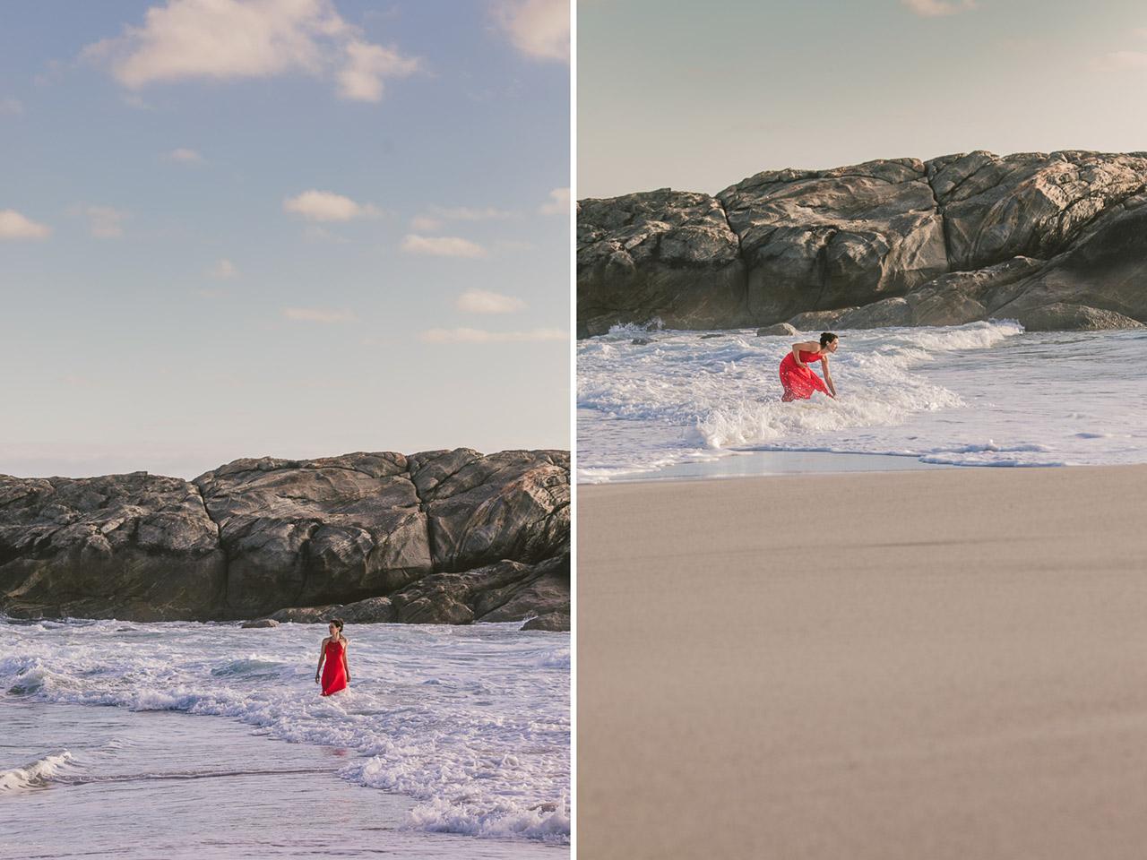 Fine art portraits, beach and ocean, red dress