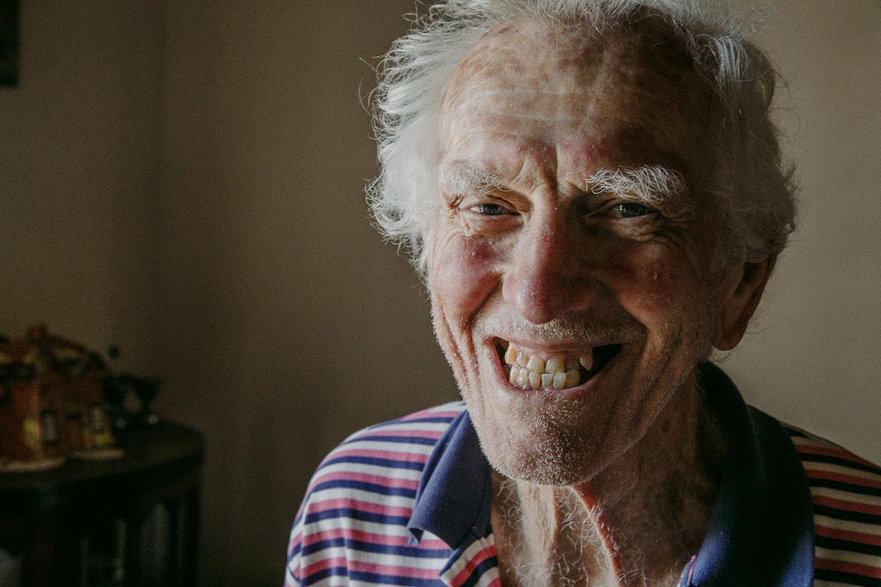 Portrait of an elderly man laughing by portrait photographer Nic Duncan, Western Australia