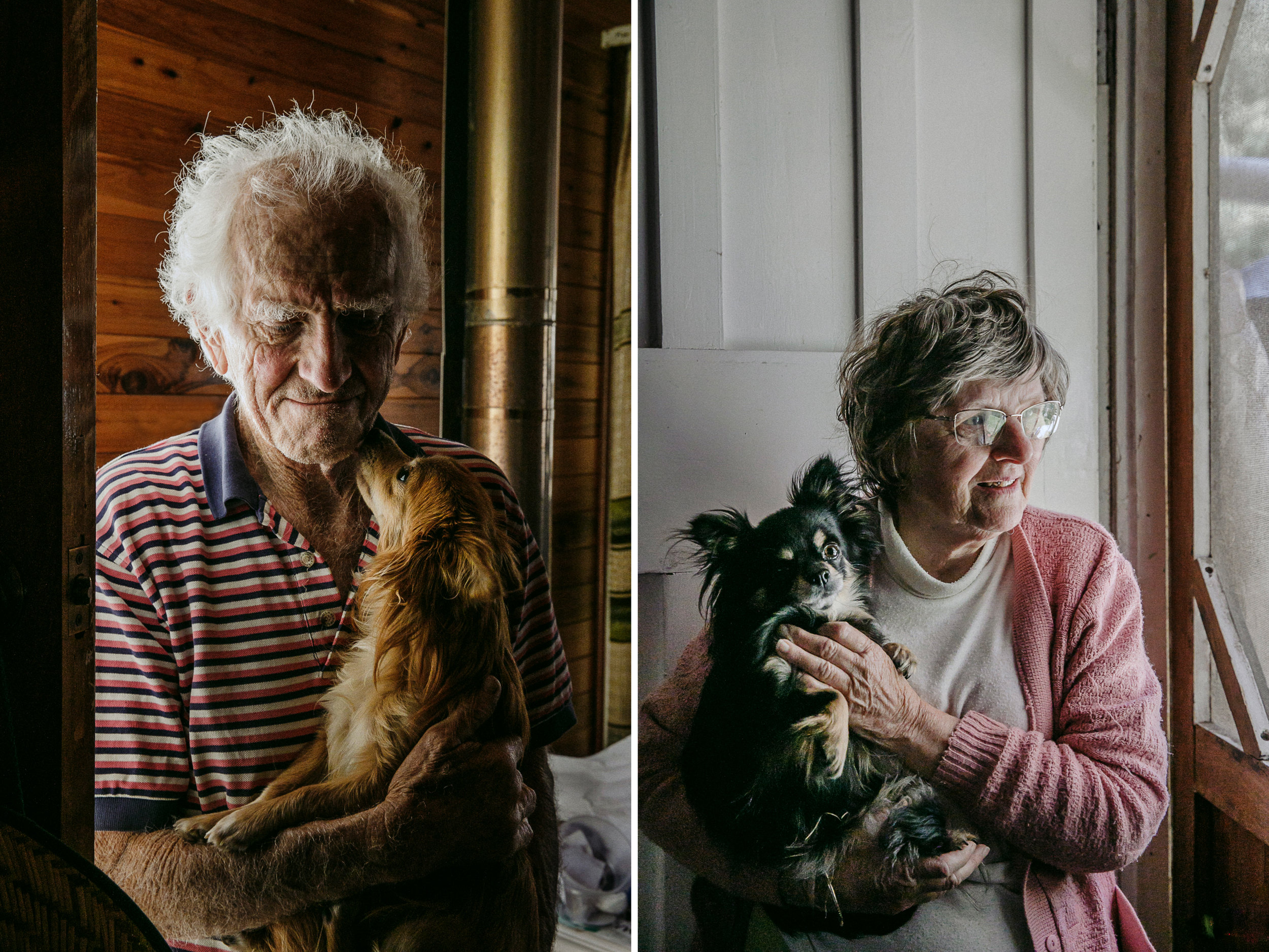 Portraits of elderly people with their small pet dogs