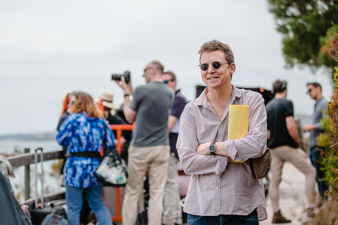 Simon Mayo, in Albany for the filming of Itch, based on his best-selling books