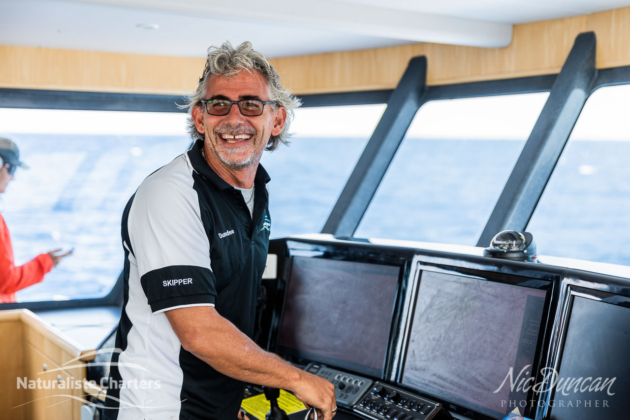 Naturaliste Charters' skipper, Dundee - his smile says it all