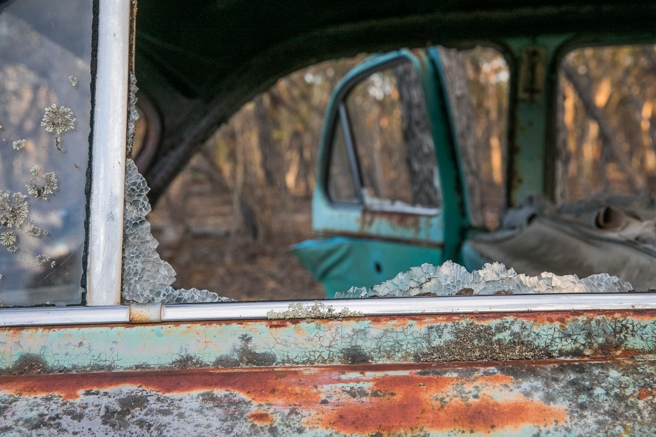 Rusted out old car in the Australian bush with broken windows and smashed glass