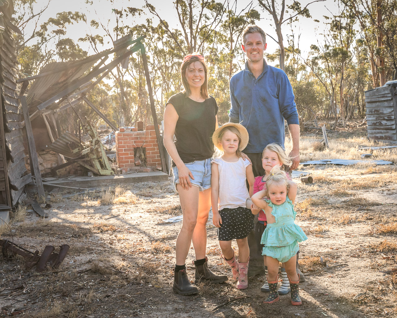 Family photo session in the wheatbelt on their own farm
