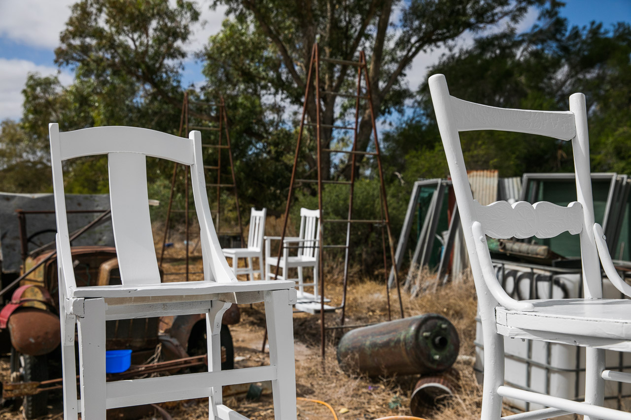 White chairs for an art installation