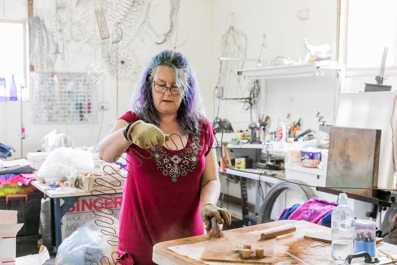 Tania Spencer, artist, in her Lake Grace studio