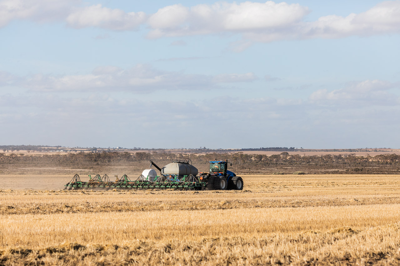 Seeding sheep feed (oats) using the air seeder in Bruce Rock on a broad acre farm