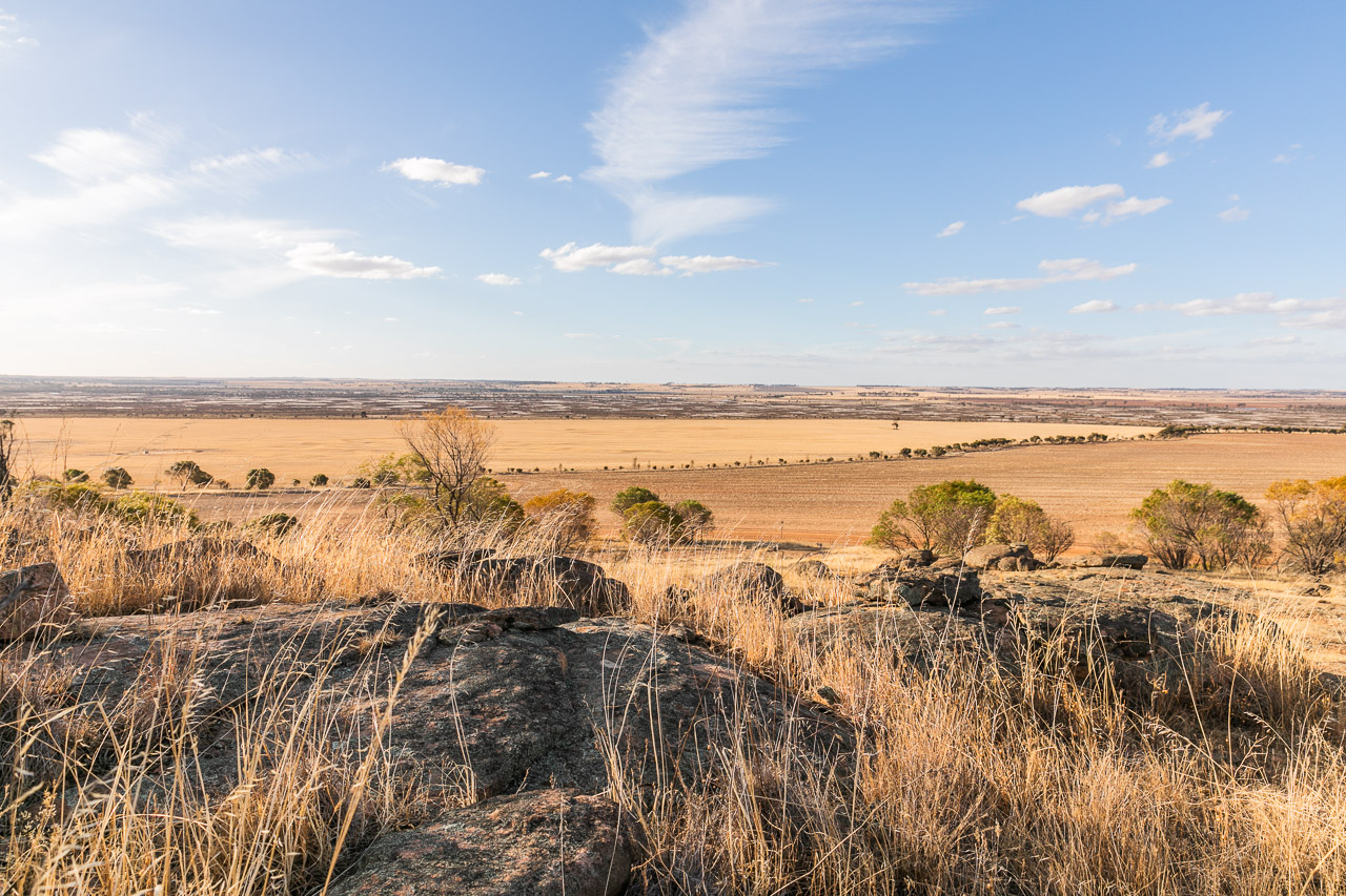 View from a granite outcrop across the paddocks in a wheatbelt, Western Australia