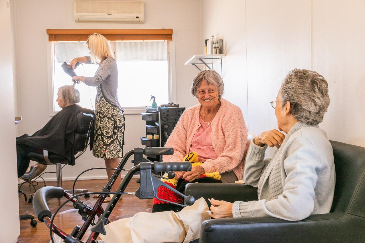 Three elderly ladies at the hairdresser in the Wheatbelt