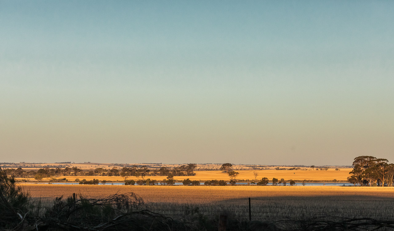 The setting sun over the Wheatbelt and salt lakes