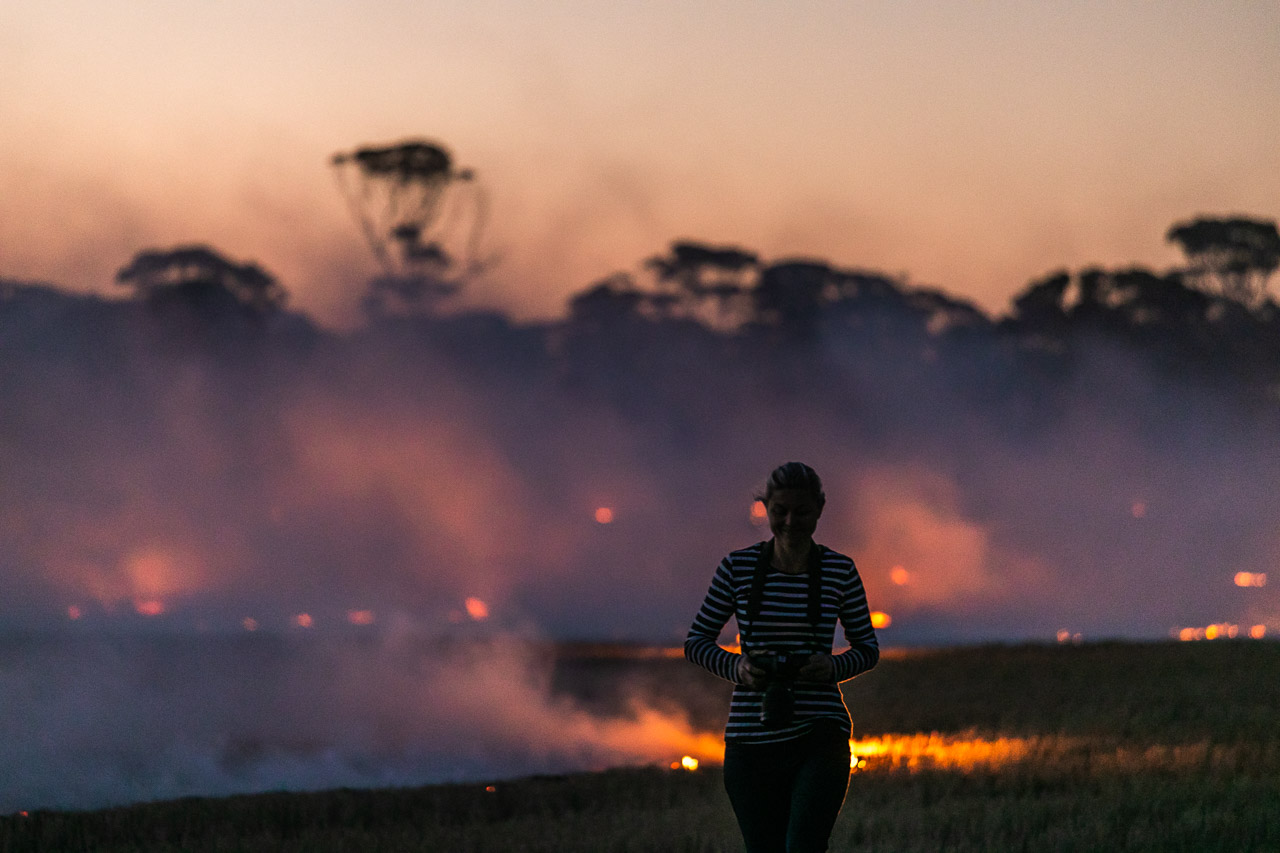 Silhouette of a person again the flames, smoke and salmon gums during windrow burning in Bruce Rock in WA's Wheatbelt