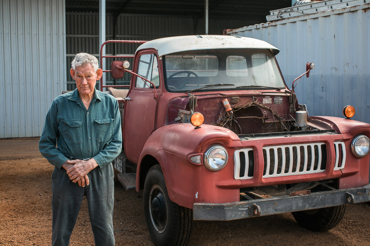 Mechanic Richard Spark with the vehicle he bought new in 1964, in Mukinbudin WA
