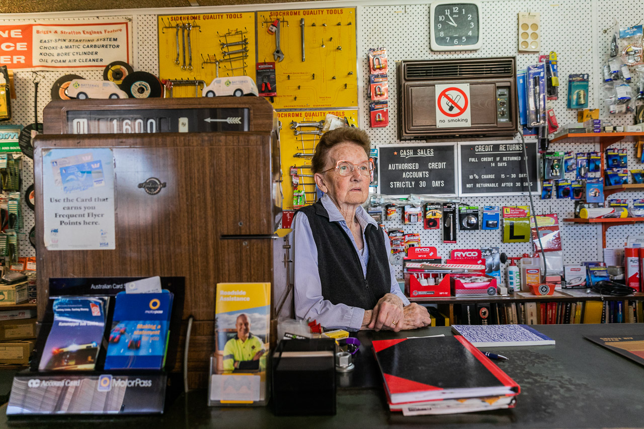 Mrs Wilma Geraghty still working five and a half days at week at the BP in Mukinbudin, WA