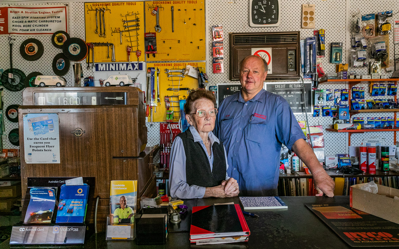 Wilma Geraghty and her son Peter, together run the BP in Mukinbudin, in WA's Wheatbelt