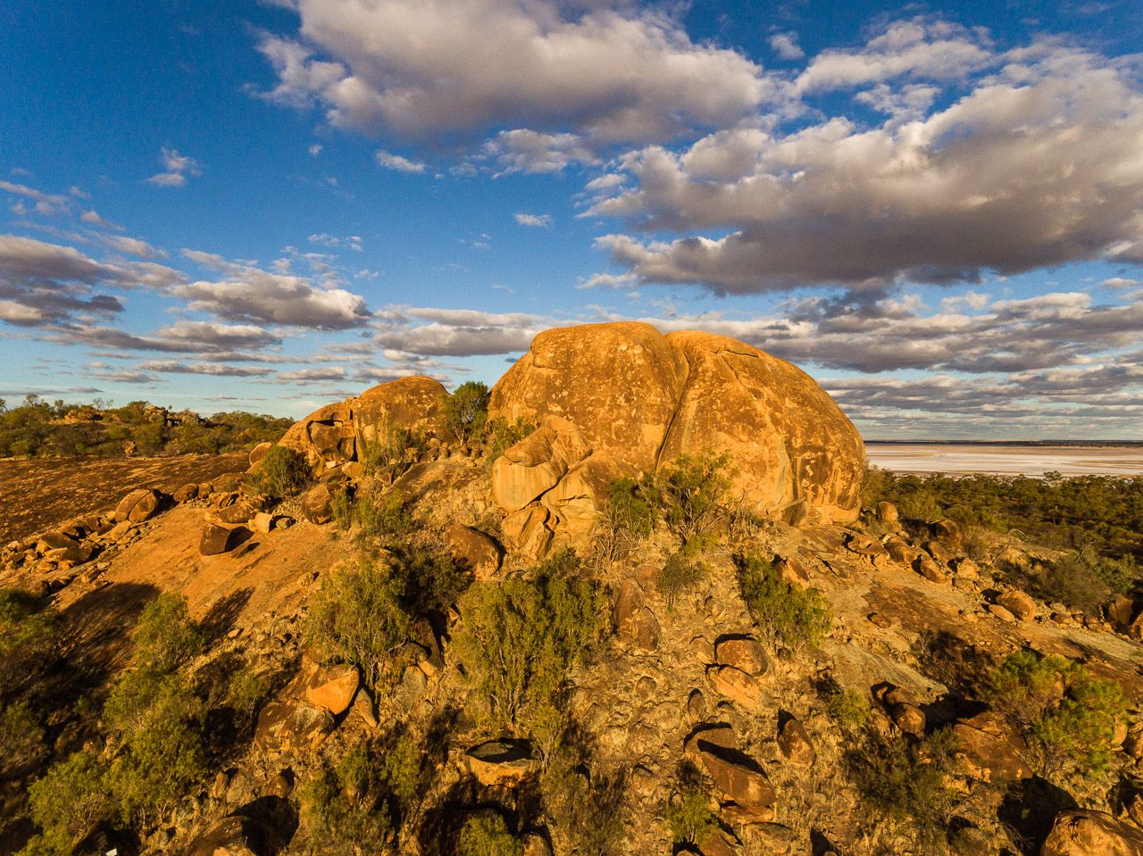 Drone image of Eaglestone Rock and Lake Brown in the Wheatbelt, WA