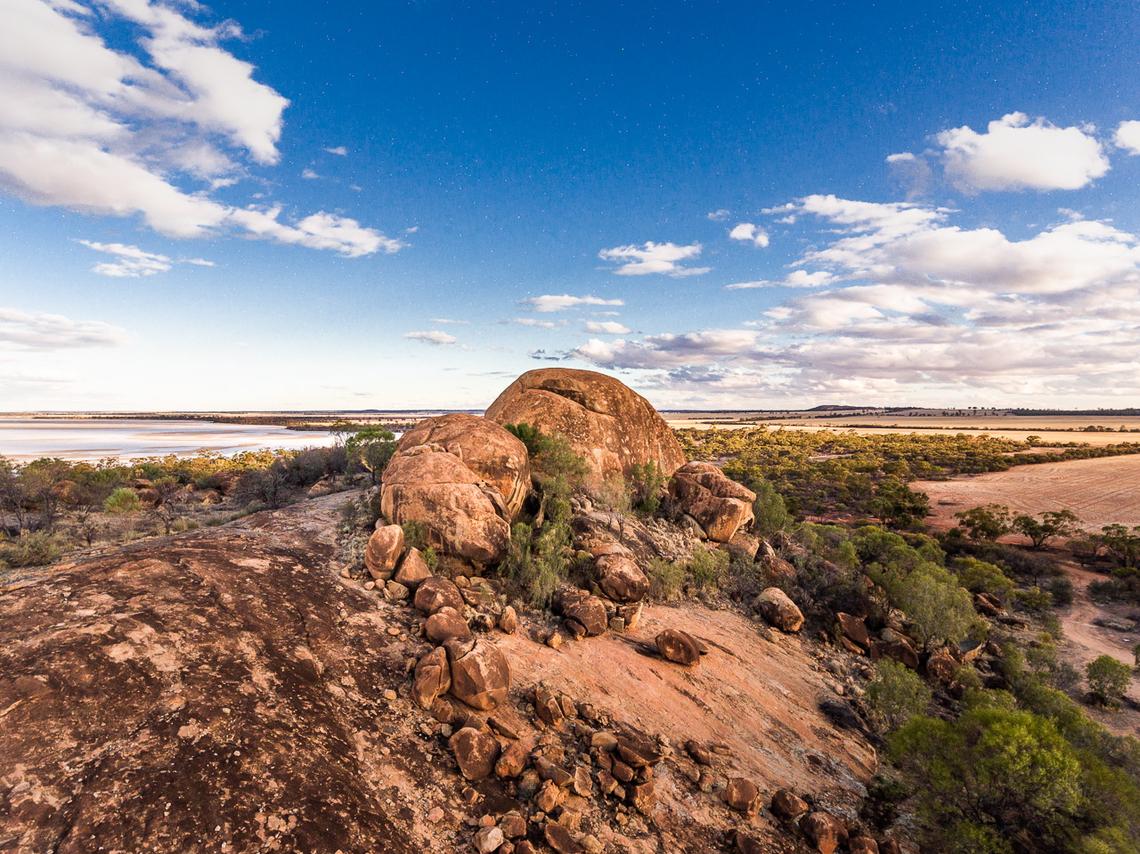 Drone image of Eaglestone Rock, also known as Turtle Rock, and Lake Brown salt lake