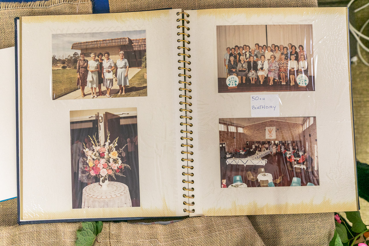 Photo album with photos of the Koorda CWA's 50th birthday