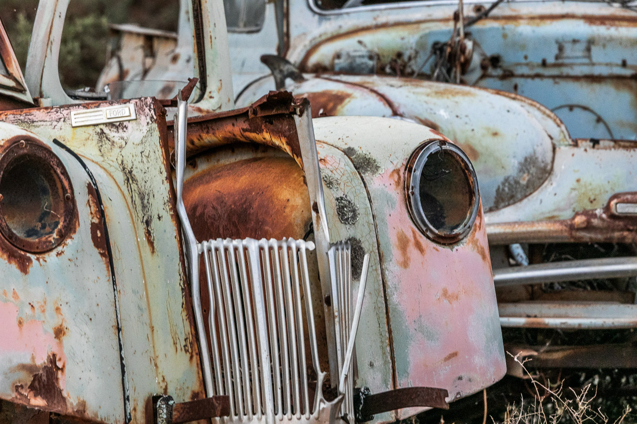 Rusting car bodies in the farm yards around the Wheatbelt