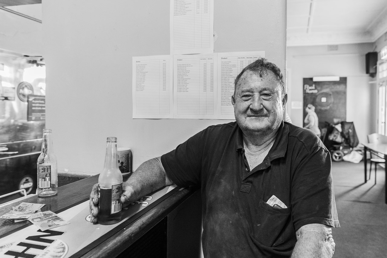 Man with his beer at the pub