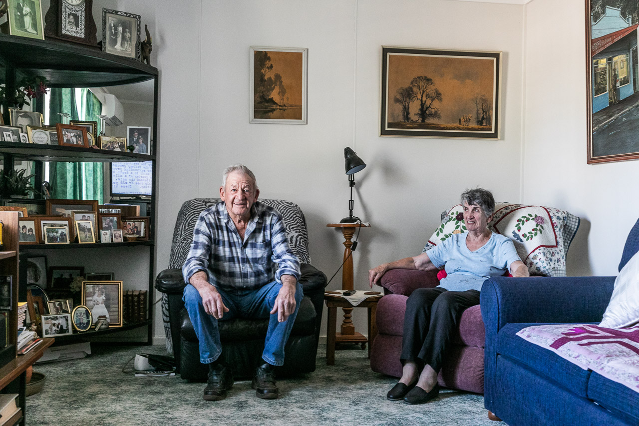 Elderly couple in their lounge room