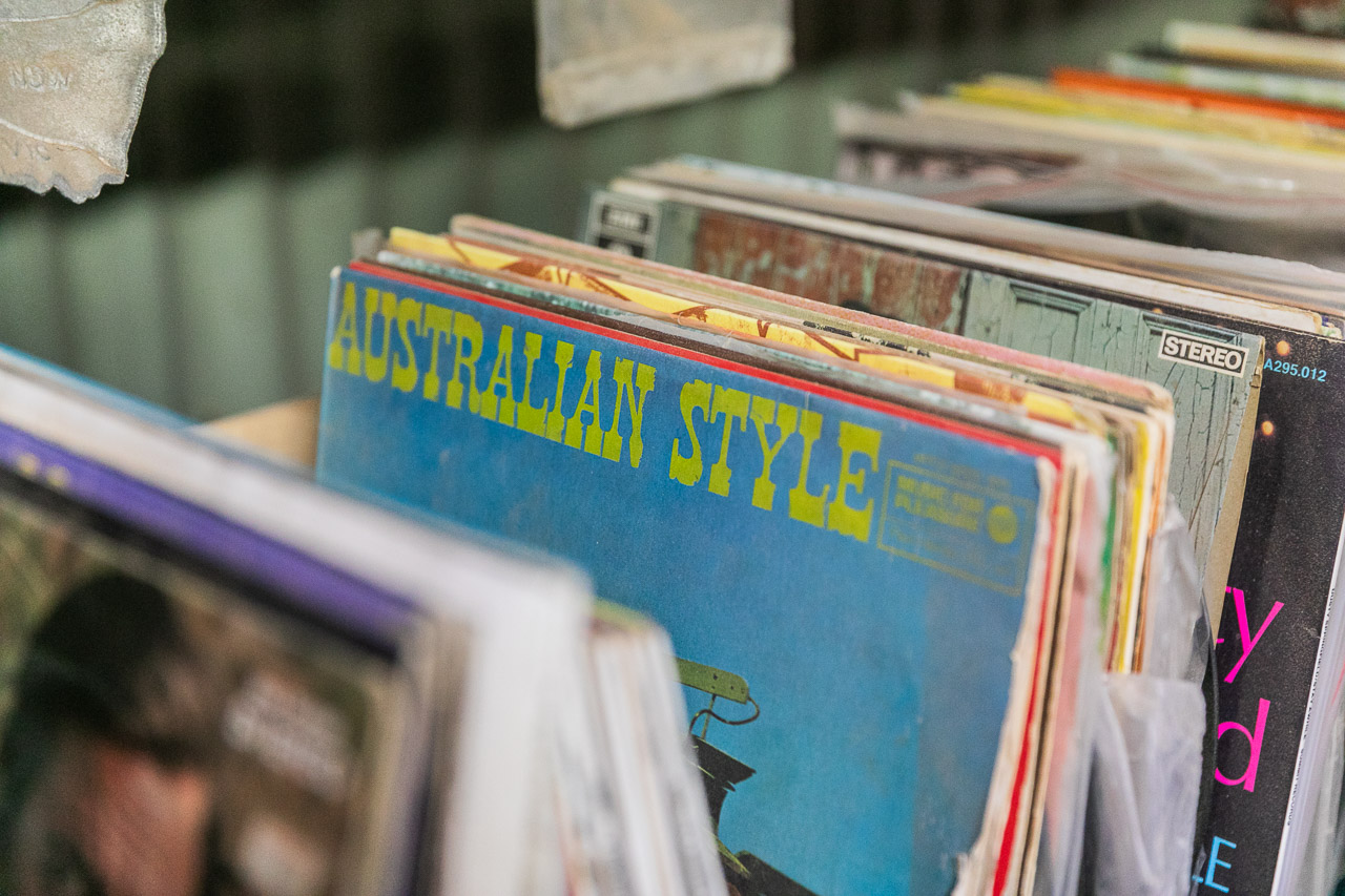 Old vinyl record collection