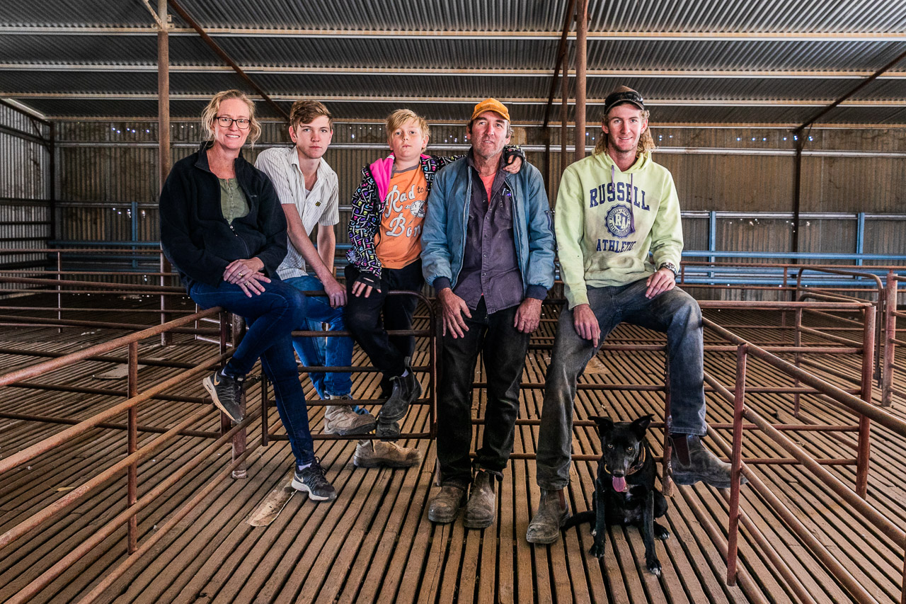 Family portrait in the shearing shed
