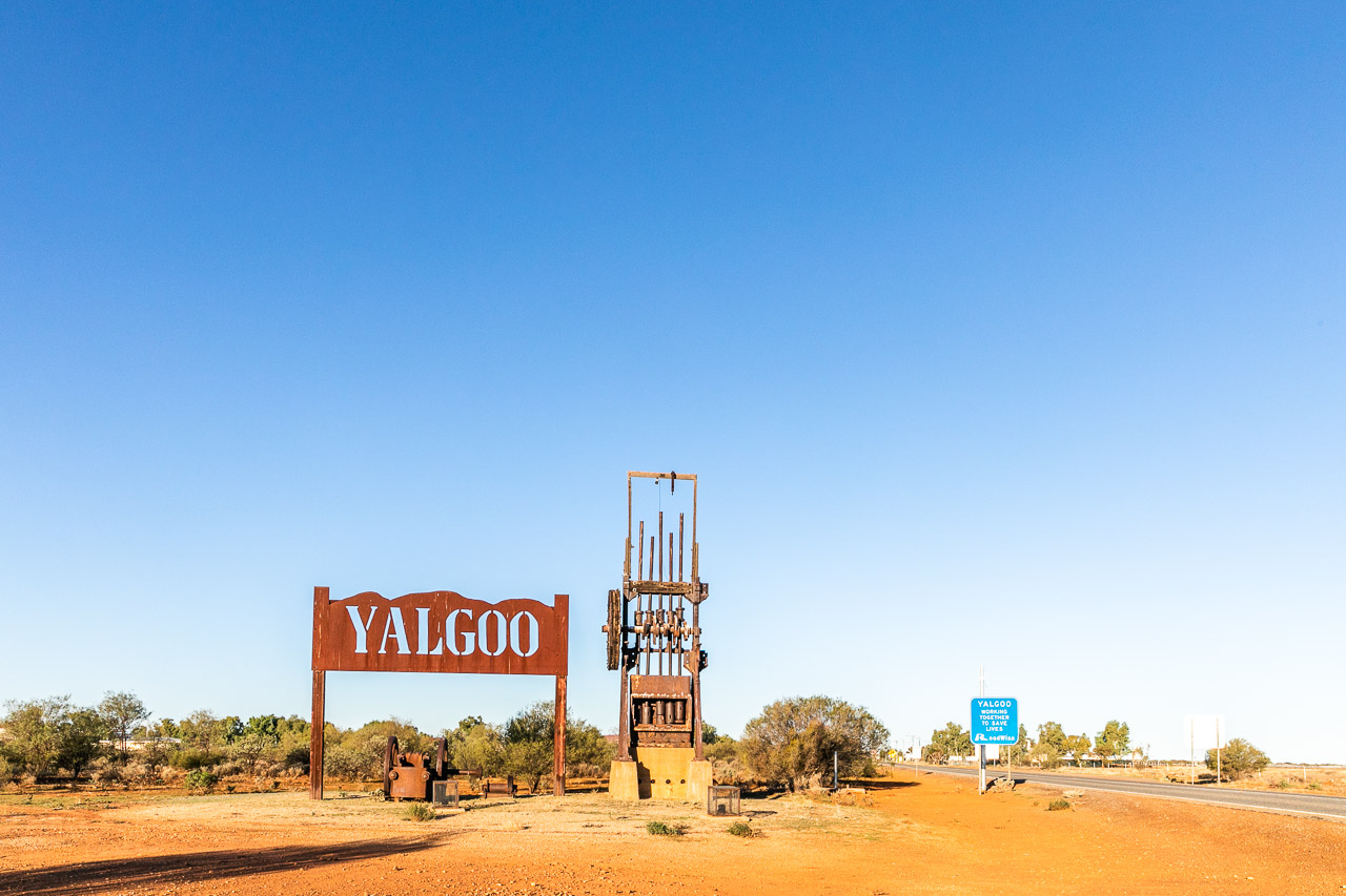 Entry statement to Yalgoo in Western Australia's mid-west