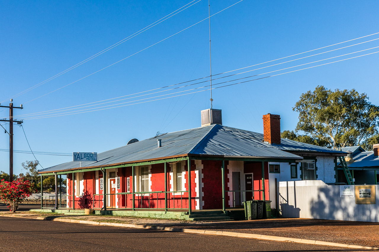 The Yalgoo Hotel glowing in the afternoon sun