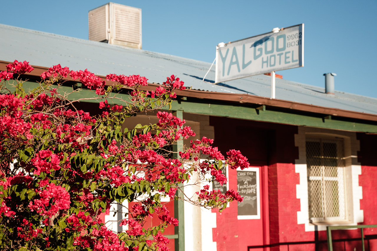 The brightly painted Yalgoo Hotel and a pink bougainvillea