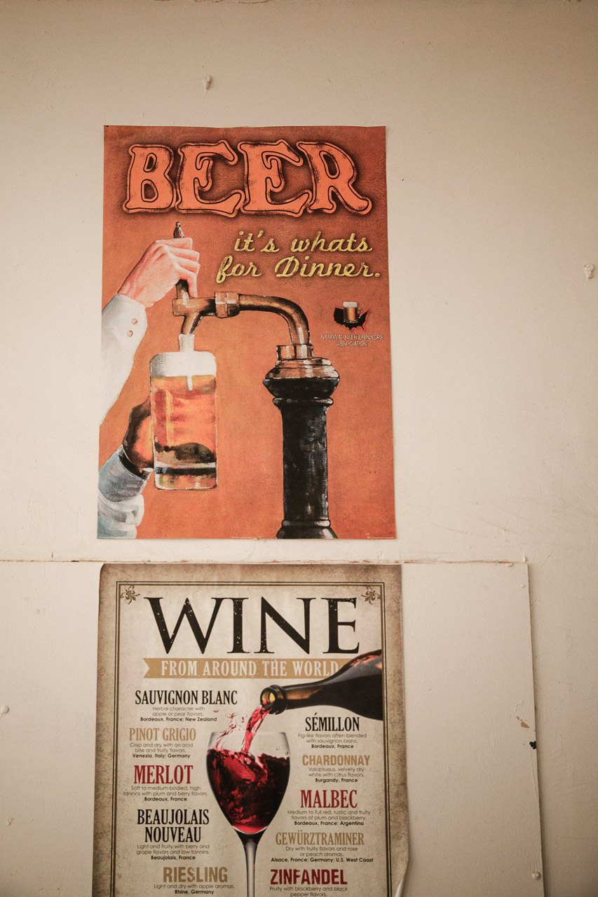 Eighties style posters on the wall of the Yalgoo Hotel