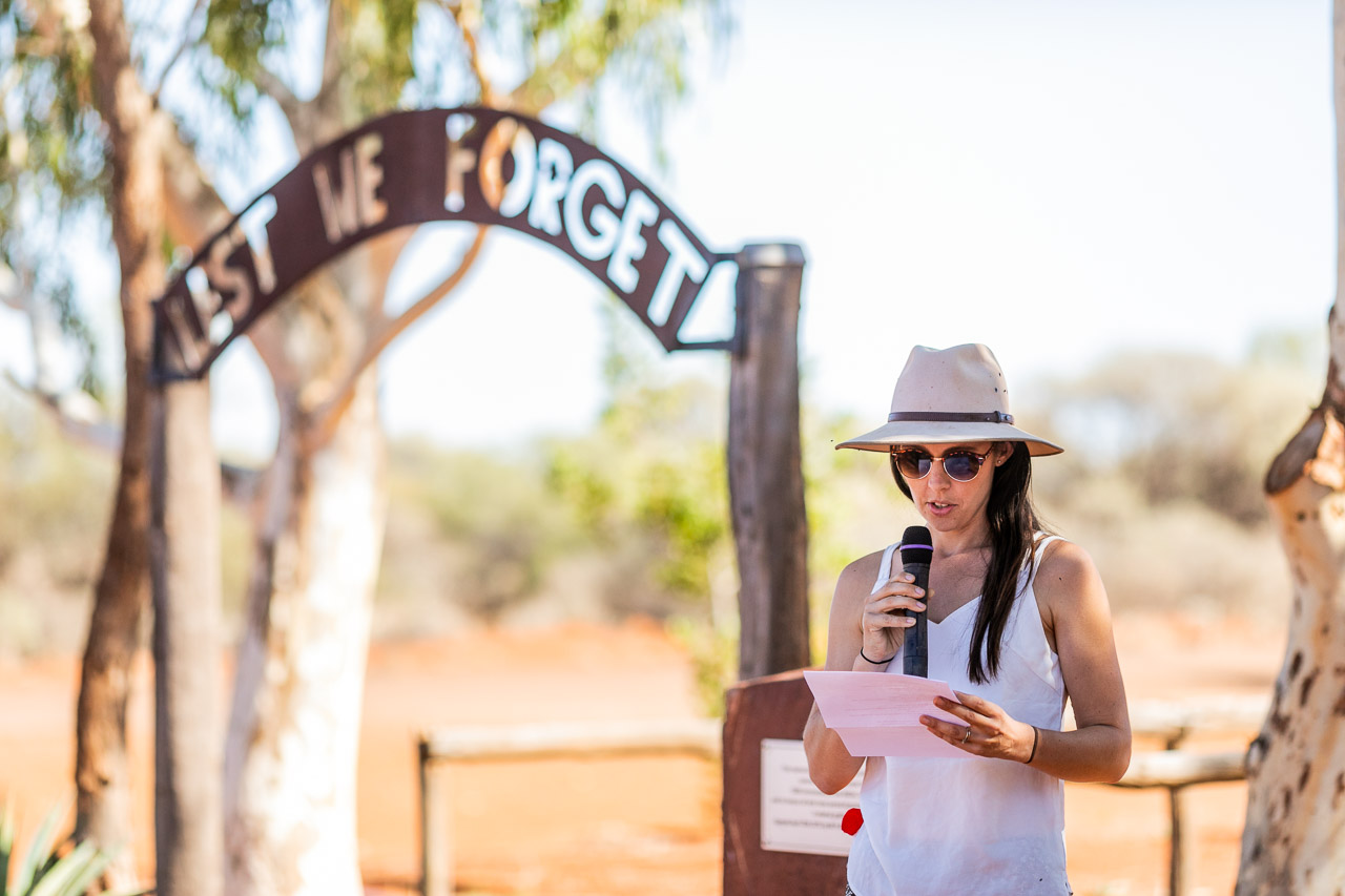 Wooleen Station's Frances Jones at the Murchison Settlement Anzac Service, in Western Australia