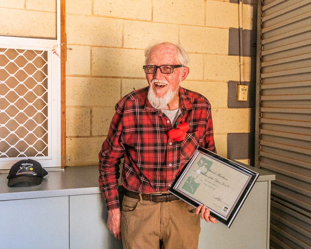 Paul Lukitsch is recognised as Murchison Settlement's Volunteer of the Year