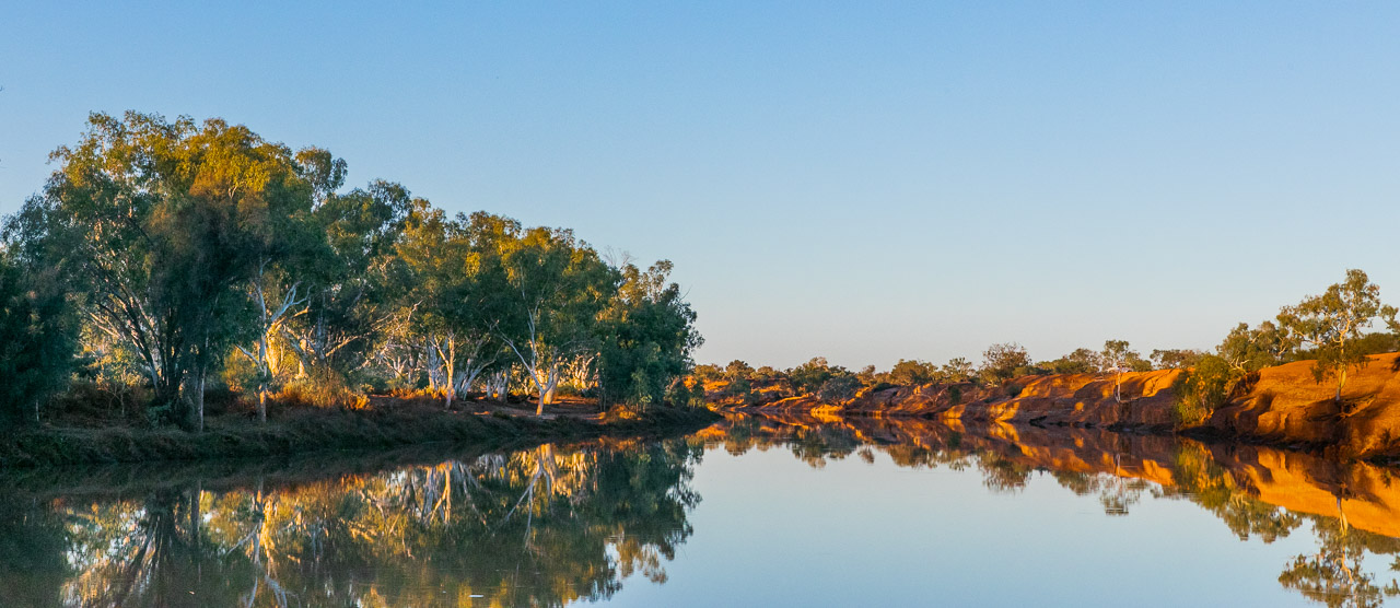 Looking up the Murchison River at the river camp spot at Wooleen Station in Western Australia