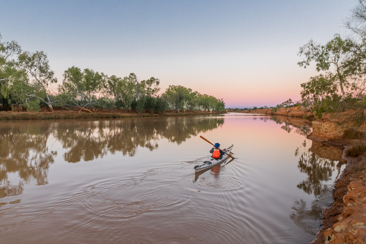Sea kayaking on the Murchison River at Wooleen Station