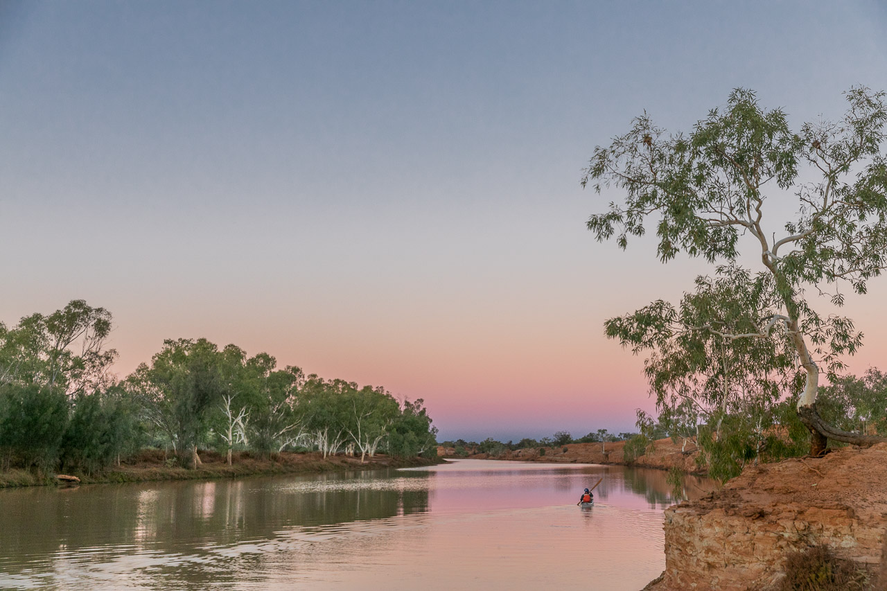 Kayaking at sunset on the Murchison River, Wooleen Station in WA