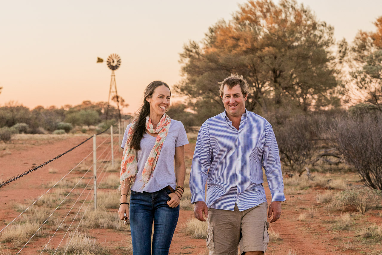 Portrait of Frances and David Pollock at Wooleen Station in WA's Murchison region