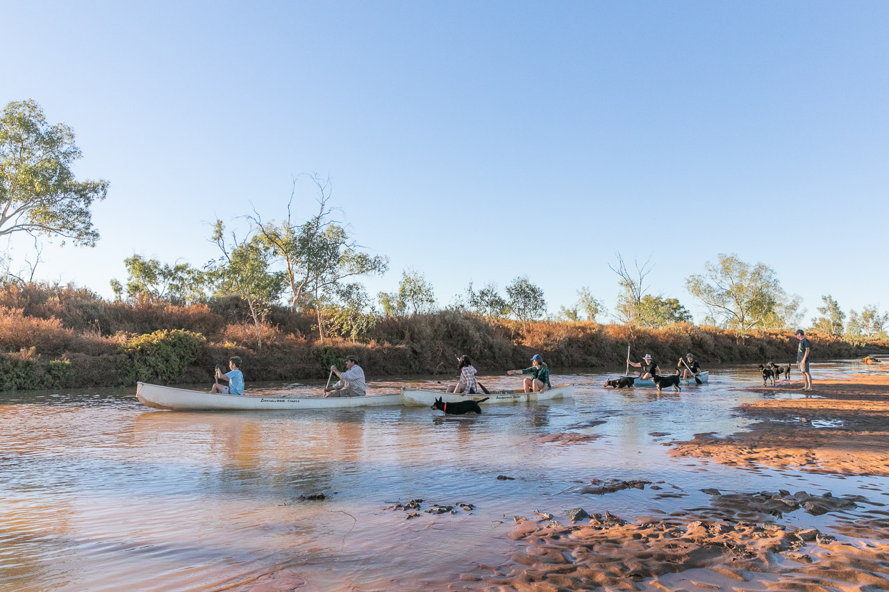 Canoeing on the Murchison River at Wooleen Station after recent rain