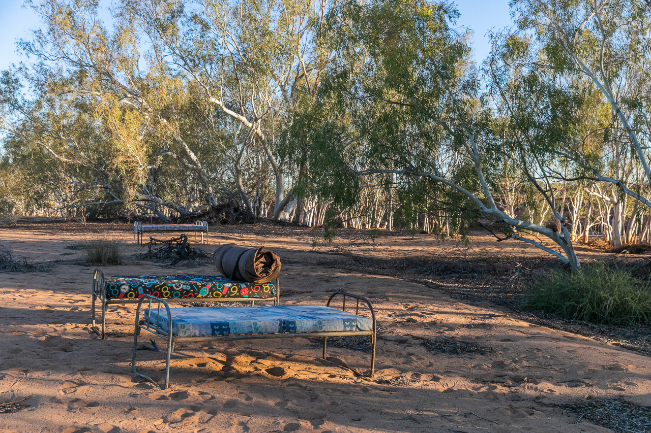Setting up to camp under the stars by the Murchison River
