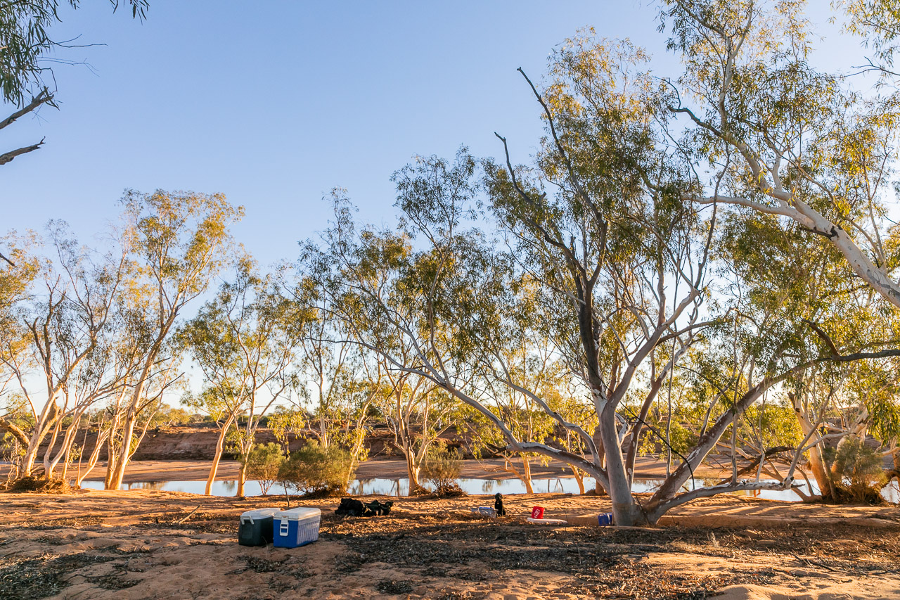 Setting up an out-camp beside the Murchison River