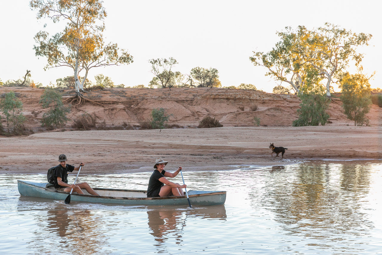 Canoeing on the Murchison River after recent rain