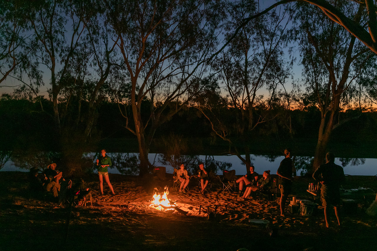 Sitting around the out-camp campfire by the Murchison River at Wooleen Station