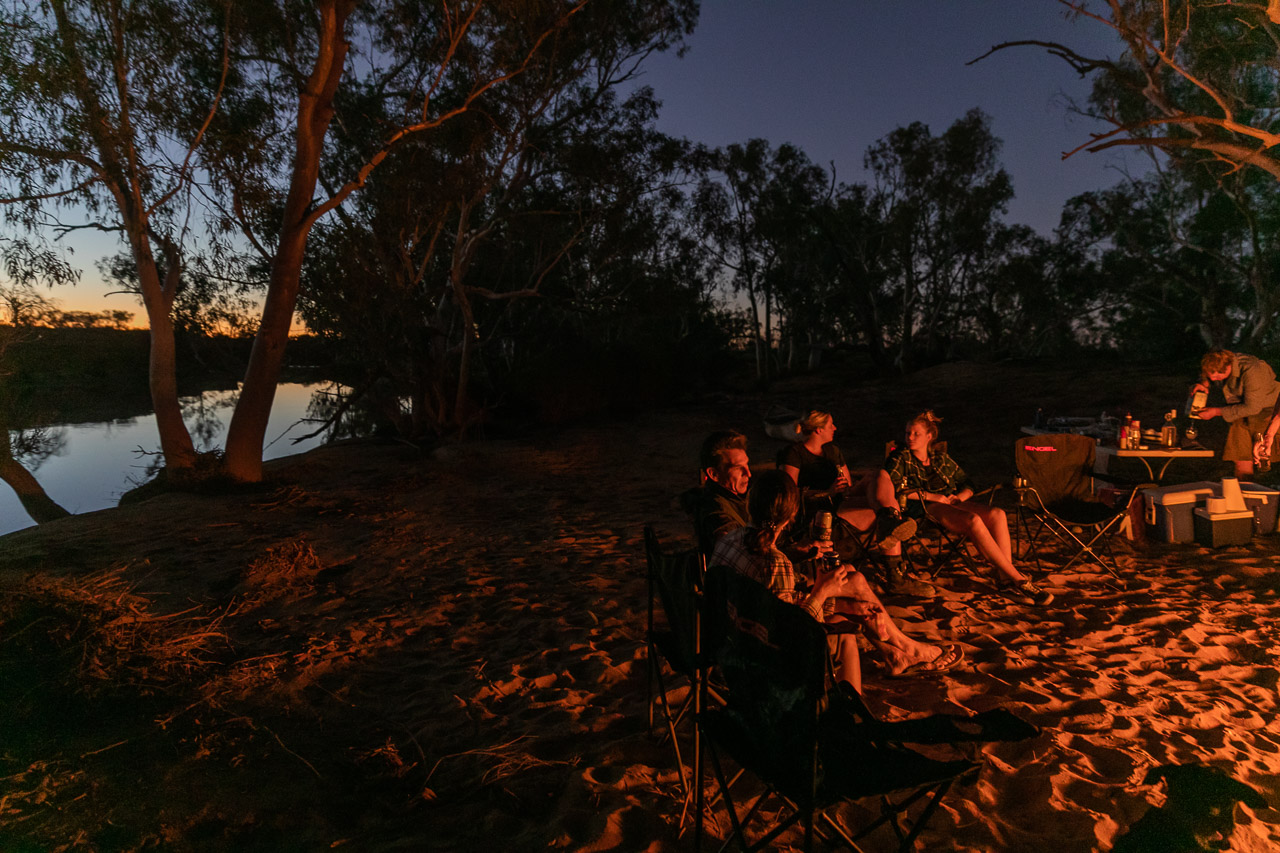 Campfire and sunset by the river at Wooleen Station
