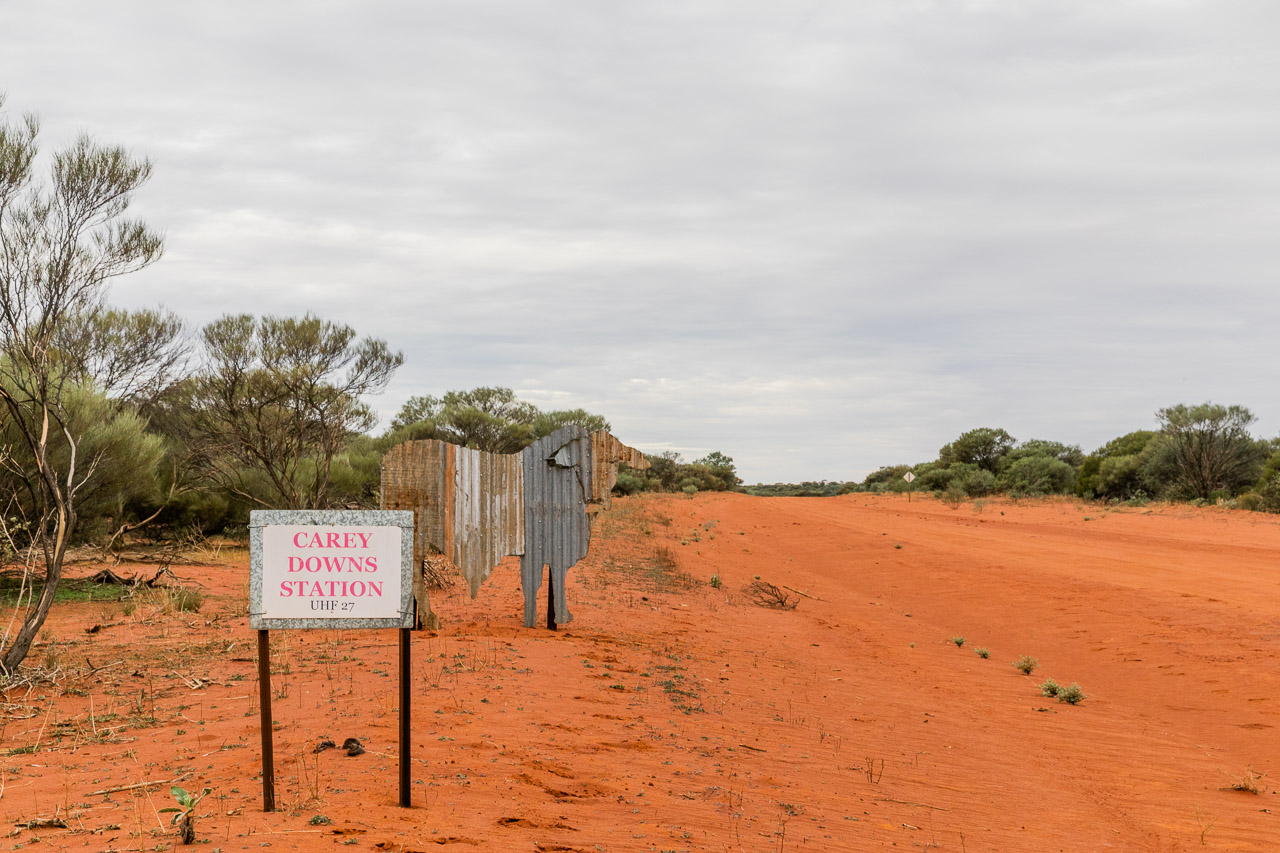 Road signs to Carey Downs Station in the Gascoyne region of WA