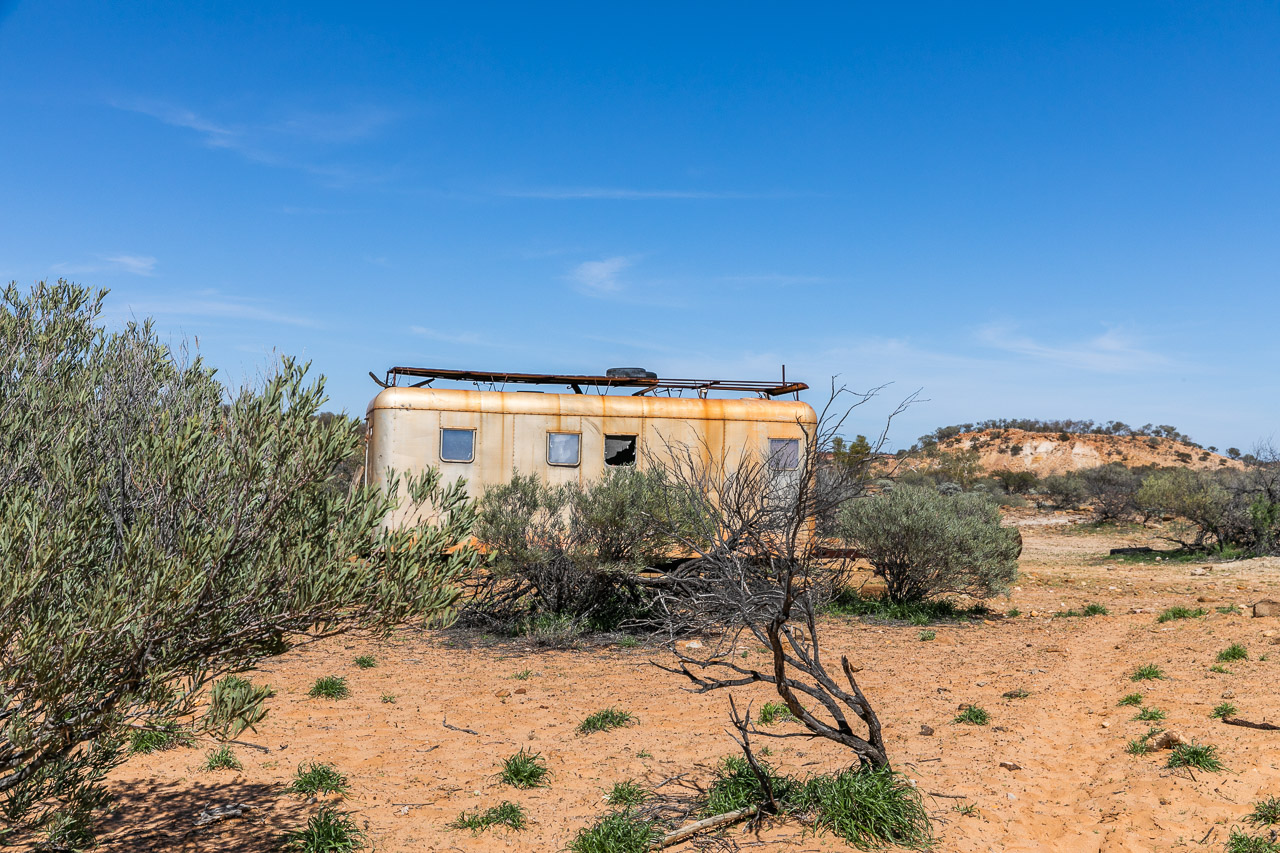 The old out-camp caravan at Carey Downs Station in WA