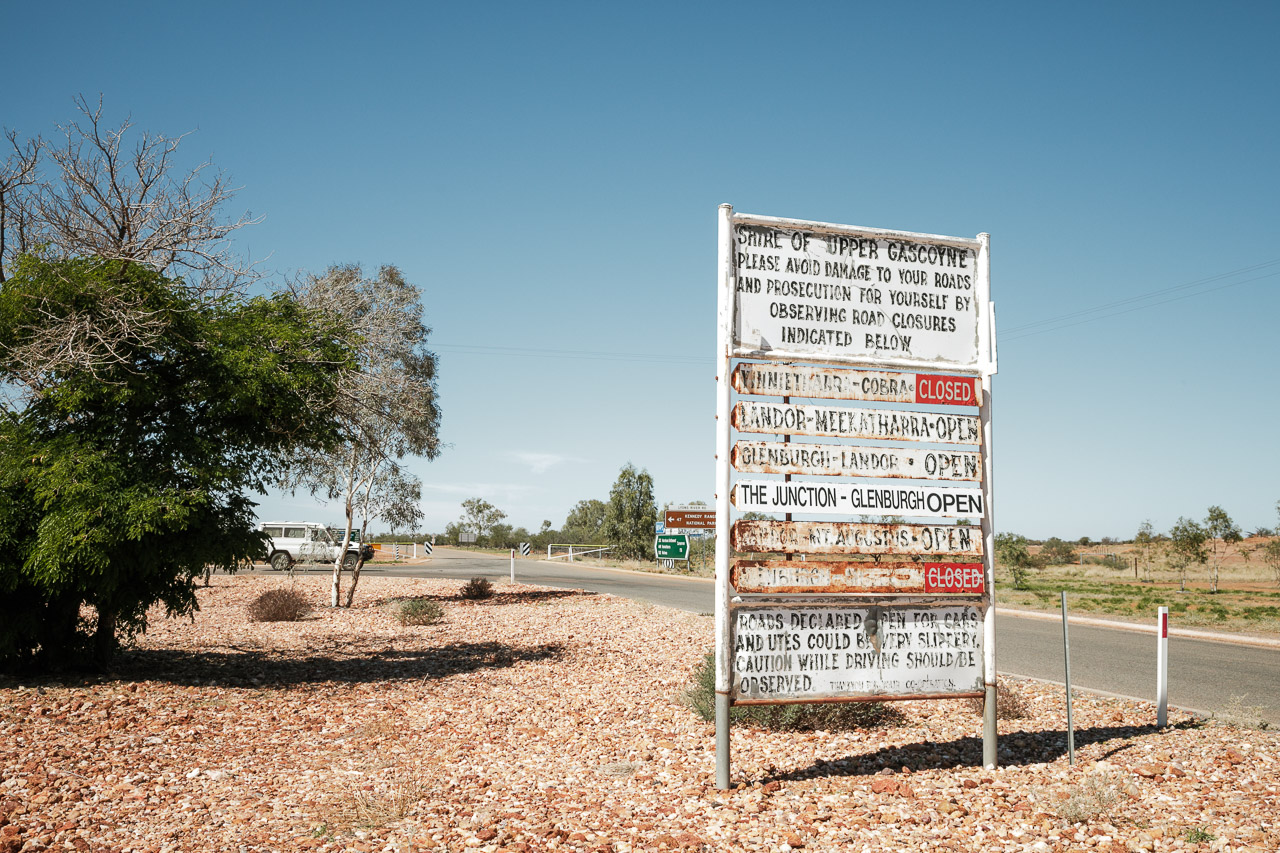 The road condition sign at Gascoyne Junction, WA