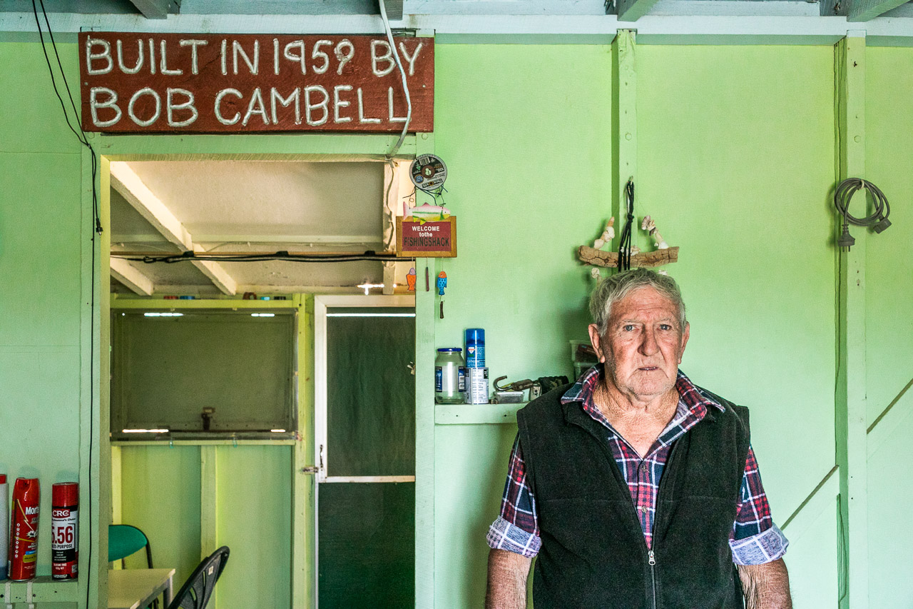 Mick Cambell in the shack his father built near Quobba Station, Carnarvon