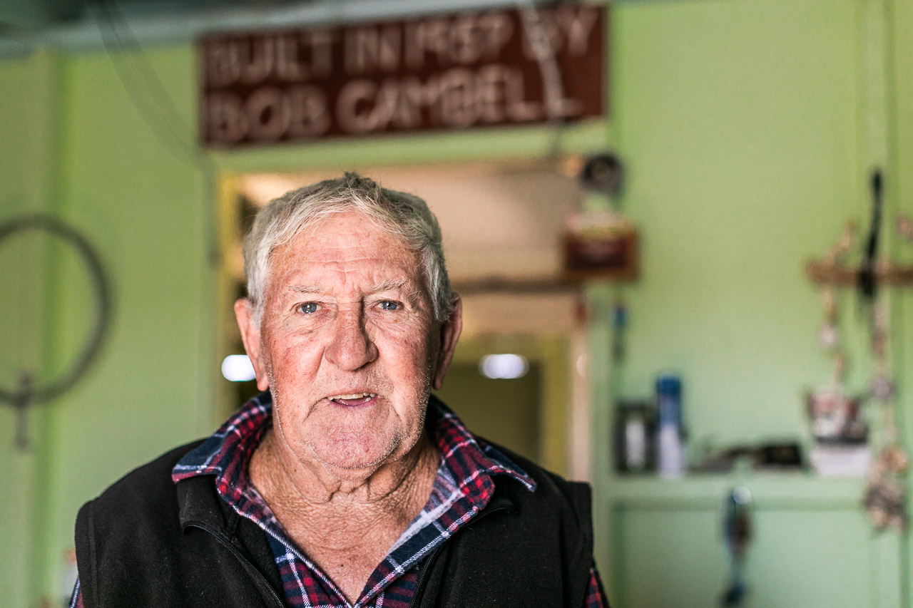 Mick Cambell lives in his fishing shack for most of the year