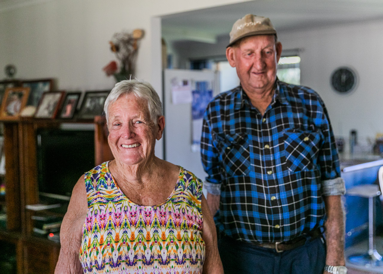 Couple in their eighties at home