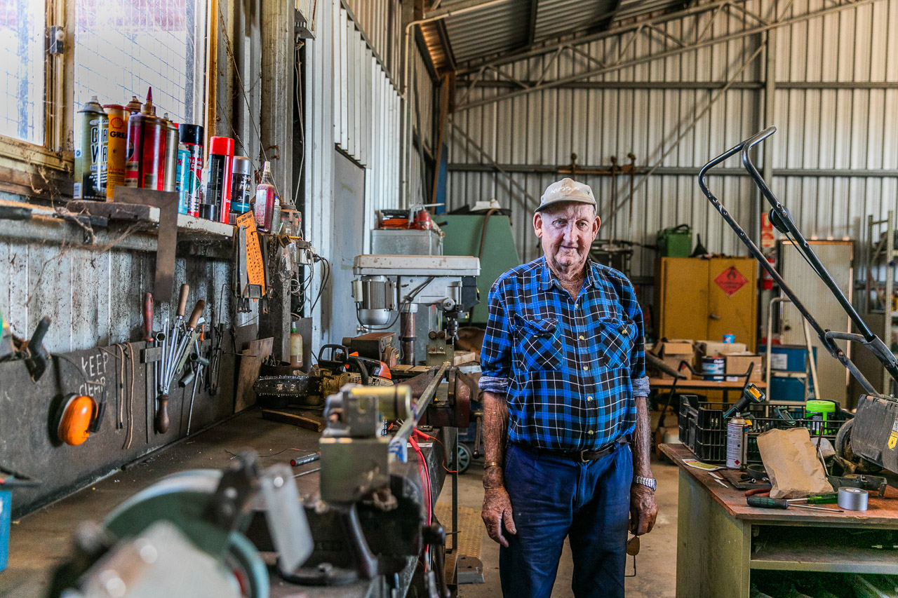 Elderly man in his shed