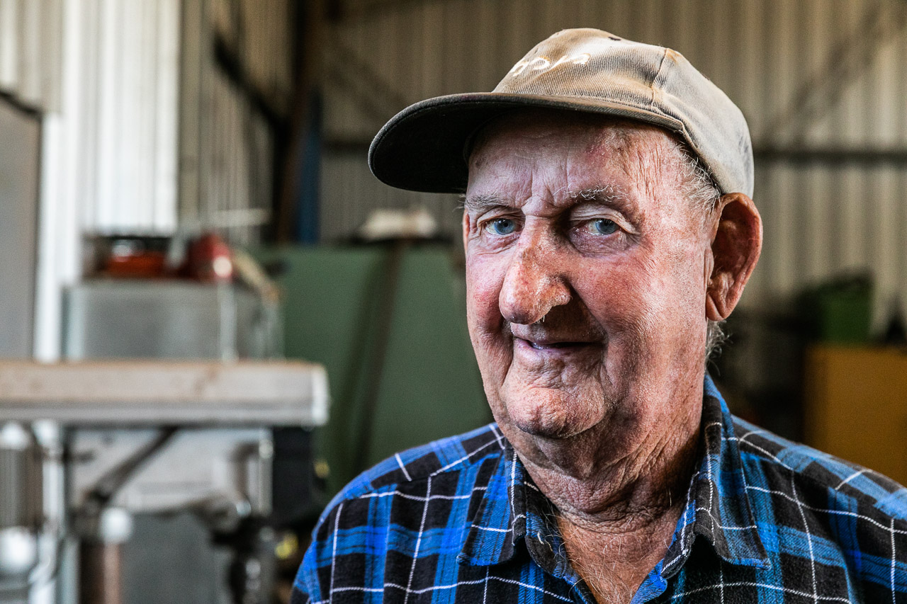 Old man in his shed